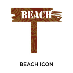 Beach icon vector sign and symbol isolated on white background, Beach logo concept