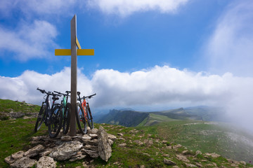 BERIAIN, NAVARRA/SPAIN - July 22: MTB wooden signpost in mountain of Basque Country