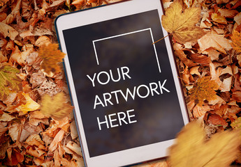 Tablet on Fall Leaves Mockup