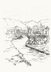 Mostar, Bosnia and Herzegovina. The Old Bridge, Stari Most, with emerald river Neretva.Cityscape Vector Illustration Line Sketched Up. Hand drawn sketch of European city on the bank of the river.