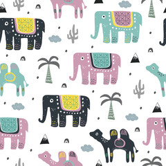 Pattern with safari exotic animals elephant and camel with palms in rainforest.For nursery or childish textile or fabric