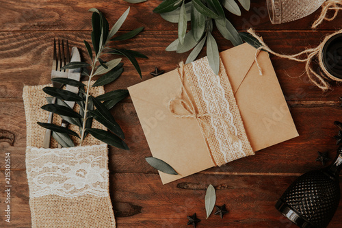Rustic Wedding Invitation Card Bridal Dinner Concept Styled With