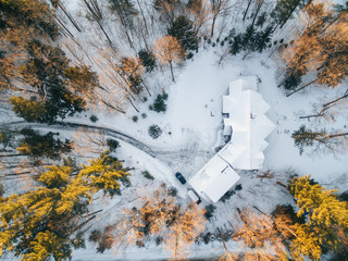 Drone image of a house during sunset in winter