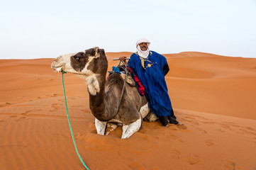 Portrait of a Berber and camel in the Sahara Desert