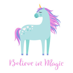Magic cute unicorn on white background. Believe in magic hand drawn text. Cartoon style beautiful unicorn for kids stuff, posters, cards etc. Vector illustration