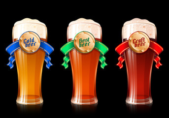 Glass of beer with ribbon and golden medal with gothic lettering Cold, Best, Craft Beer. Set of realistic vector illustration of mugs with banners for Oktoberfest or bar and brewing theme. No Mesh