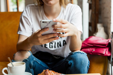 Unrecognisable woman using smartphone indoors