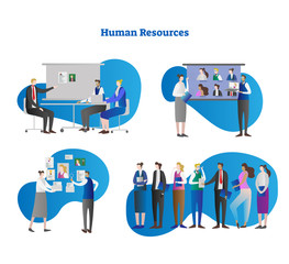 Human resources vector illustration collection set. People searching for professional employee or job candidate from interview, CV, photo. Make choice and hiring person.
