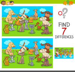find differences game with pets animals