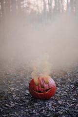 Spooky pumpkin with smoke in garden