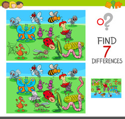 find differences game with insect animals