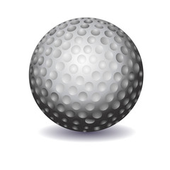 white golf ball illustration on white background shadow