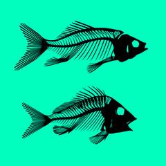 two fish bones dead silhouettes vector art