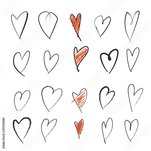 Sketched Hearts Clip Art