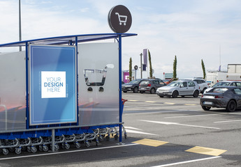 Advertising Kiosk in Parking Lot Mockup