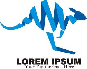 Kangaroo blue ribbon logo design. vector illustration.
