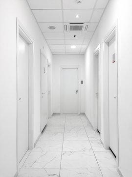 Empty white aisle