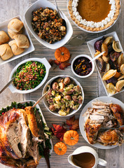 Thanksgiving: Feast Of Turkey And Side Dishes And Pumpkin Pie