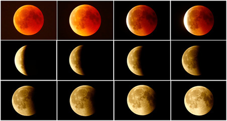 A combination photo shows the lunar eclipse from a blood moon (top L)  back to full moon (bottom right) in the sky over Frankfurt