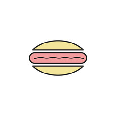 hotdog colored outline icon. Element of food icon for mobile concept and web apps. Thin line hotdog icon can be used for web and mobile