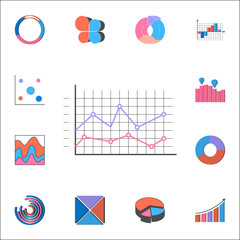 Logarithmic diagram icon. Detailed set of Charts & Diagramms icons. Premium quality graphic design sign. One of the collection icons for websites, web design, mobile app