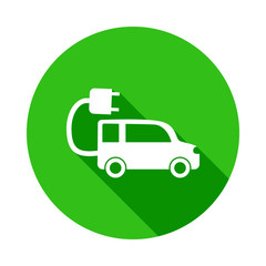 Electra car green icon in Badge style with shadow