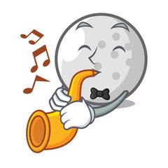 With trumpet golf ball mascot cartoon