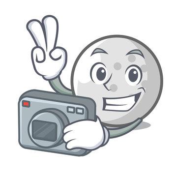 Photographer golf ball mascot cartoon
