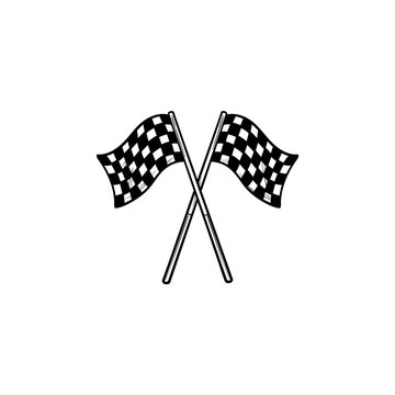 Crossed black and white checkered flags hand drawn outline doodle icon