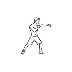 Boxing man in gloves hand drawn outline doodle icon. Fighting sport, martial arts, boxing competition concept. Vector sketch illustration for print, web, mobile and infographics on white background.