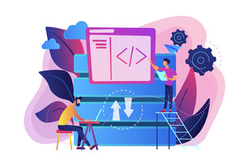 Two developers working with big data technology. Big data management and storage, database analytics and design, data software engineering concept, violet palette. Vector isolated illustration.