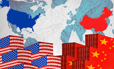 Concept image of  USA-China trade war, Economy conflict, US tariffs on exports to China, Trade frictions
