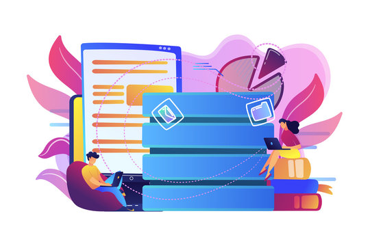 Users working on laptops with data entry. Big data services and technology, information entry equipment, database update and data management concept, violet palette. Vector isolated illustration.