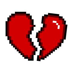 Isolated pixelated broken heart icon