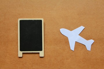 Paper cut of plane and background for text, happy family plan to travel by plane,
