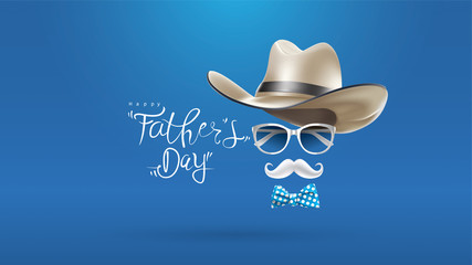 Happy Father's Day greeting card, banner design with lettering, typography or Calligraphy in three-dimensional style