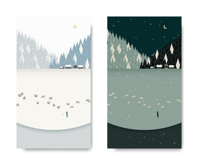 Winter scenery landscape, man tending his sheep below small village and pine forest, day and night time lapse, postcard template