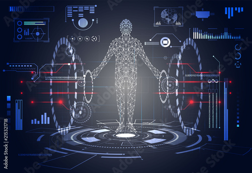 Abstract Technology Ui Futuristic Concept Human Digital Health Care Hud Interface Hologram Elements Of