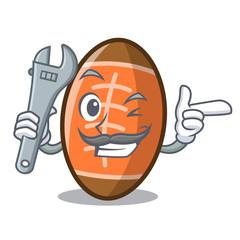 Mechanic rugby ball mascot cartoon