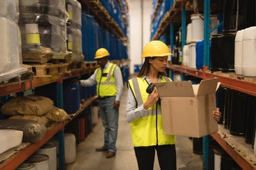 Female Staff checking stocks