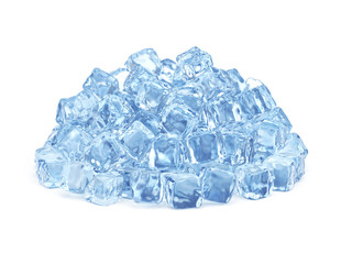 Ice cubes isolated on white background, 3D rendering