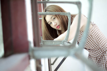 Portrait of thai china adult beautiful girl relax time, in Vintage Style