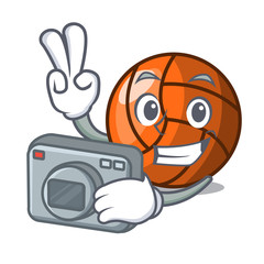 Photographer volleyball mascot cartoon style