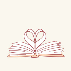 Opened book heart love hand drawn style vector doodle design illustrations
