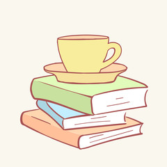 Pile stack cup mug coffee tea books hand drawn style vector doodle design illustrations