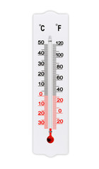 Atmospheric plastic meteorology thermometer isolated on white background. Air temperature minus 34 degrees celsius