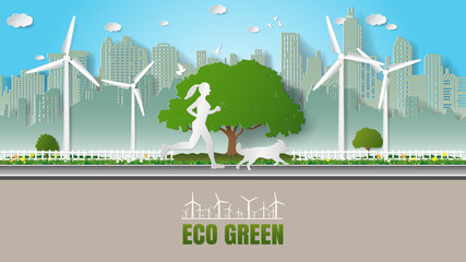 Paper folding art origami style vector illustration Renewable energy ecology sustainable development technology with people concepts, woman and her dog running in city parks where full of wind turbine