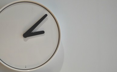 Interior design decoration concept of modern clock on wall, business times working in office and house