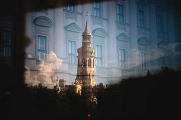 Vue sur clocher d'église