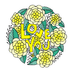 Love You. Hand lettering.